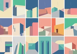 Set of Abstract architecture background with geometric art pattern. Modern building banner design vector.