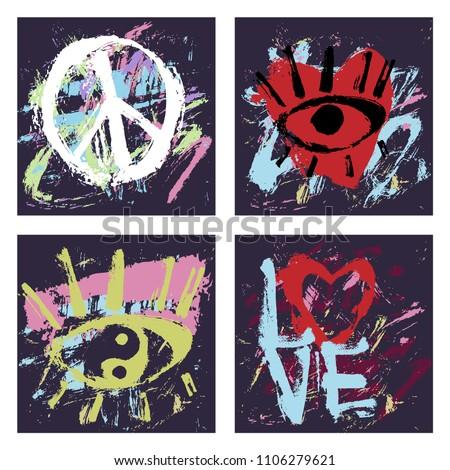 set of 4 abstract art grunge