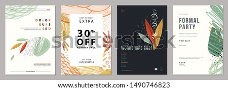 Set of abstract artistic floral templates. Good for poster, card, invitation, flyer, cover, banner, placard, brochure and other graphic design. Vector illustration.