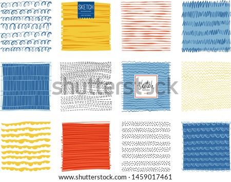 Set of abstract backgrounds and scribble textures. Vector illustration. stock photo