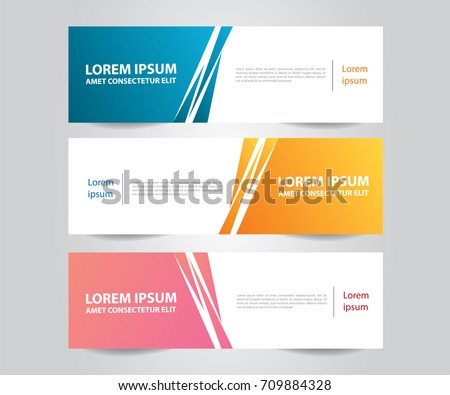 Set of Abstract banner template Design. Modern Colorful business banner template. Blue, Orange and Pink Banner design. Horizontal advertising banner.