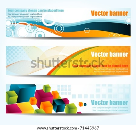 Set of abstract banners, vector - stock vector