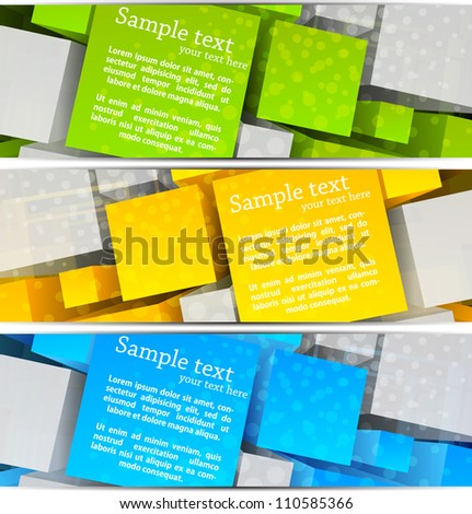 Set of  abstract banners with colorful 3d cubes