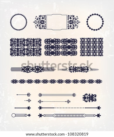 set of abstract baroque pattern design