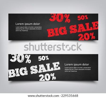 Set of abstract big sale background banners with chalkboard style, clean and modern design. Vector eps 10
