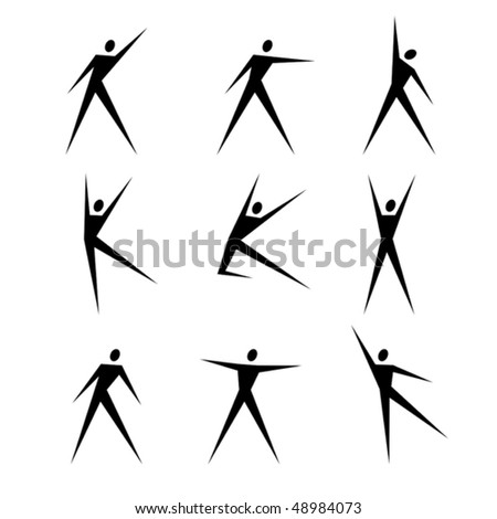 Set of abstract black human figures - stock vector