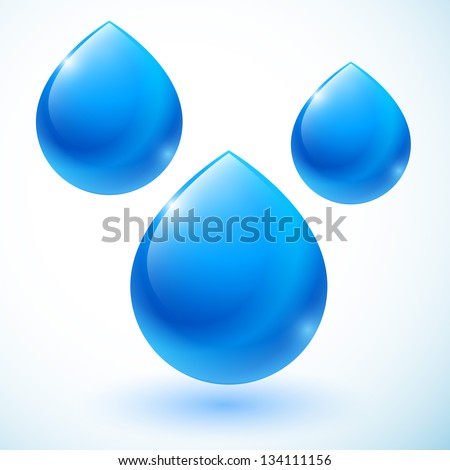 set of abstract blue drops