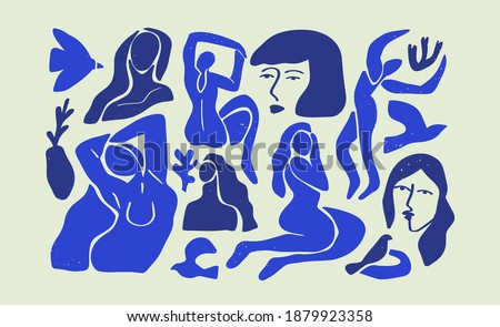 Set of abstract blue women illustration collection. Big bundle of flat cartoon woman figures, young vintage matisse art female body studies. Beautiful fine artwork for fashion or modern trend project. Stockfoto ©
