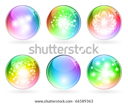 set of abstract bright rainbow multicolored glossy balls