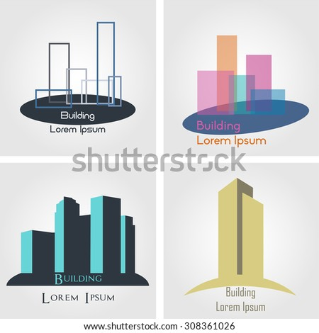 set of abstract buildings for