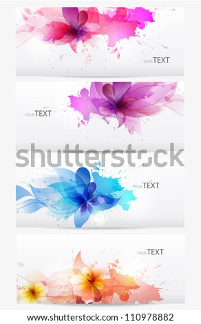 Set of abstract cards with flowers  colorful elements with  blots.  Vector design