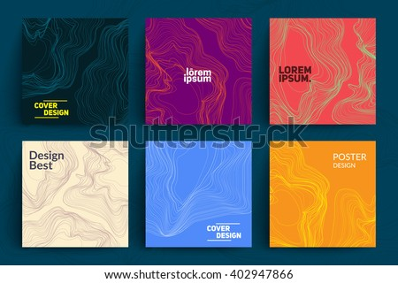 Shutterstock Set of Abstract Cards with Liquid Lines. Applicable for Covers, Placards, Posters, Flyers and Banner Designs.