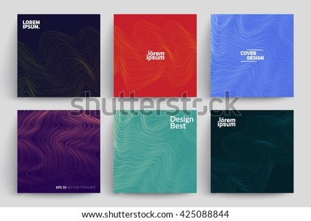 set of abstract cards with