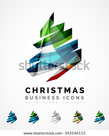 Royalty free set of christmas tree modern paper for Modern cleaning concept