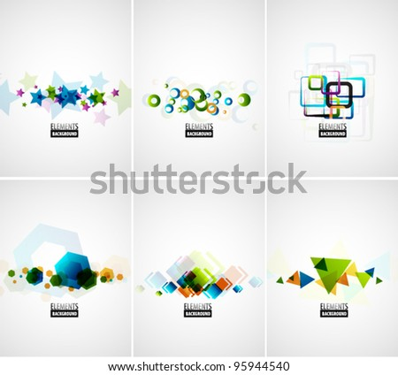 Set of abstract color geometric backgrounds