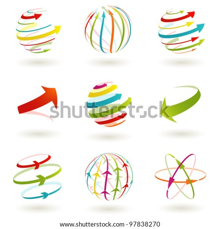 Set of abstract colordul arrow icon. Vector  illustration.
