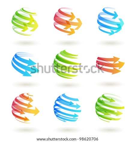 Set of abstract colordul arrow icon. Vector  illustration.Eps10 - stock vector
