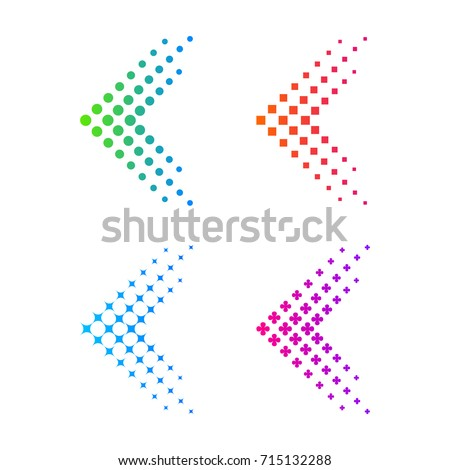 Set of Abstract Colorful Arrow, Fly, Forward logo. Dots, Dotted, Sparkle, Pixels, Square, Circle, Circular halftone shape Symbol and Icon Vector Design Elements