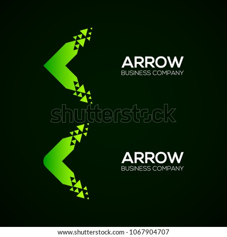 Set of Abstract Colorful Arrow Pixel logo, Triangle, Green color,Technology and digital logo, Fly, Forward logo, Dots, Dotted, Square and Circle shape Symbol and Icon Vector Design Elements