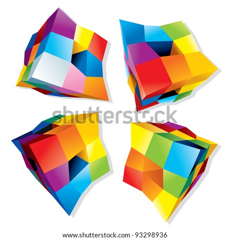 Set of Abstract Colorful Cubes, 3D Vector Design Elements or Logos