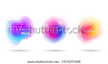 Set of abstract colorful liquid shapes. Fluid gradients banner design. Isolated dynamical art form. stock photo