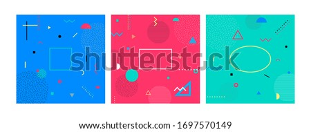 Set of abstract Colorful Memphis Art Background. 80s memphis geometric style flat and line design elements. Retro art for covers, banners, flyers and posters. Vector illustration