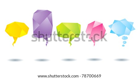 Set of abstract colorful origami bubbles - stock vector