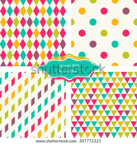 set of 4 abstract colorful