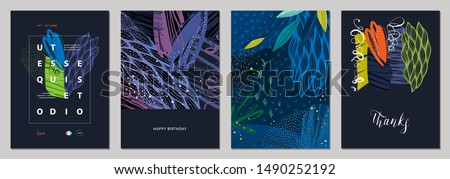 Set of abstract creative templates. Good for poster, card, flyer, cover, banner, placard, brochure and other graphic design. Vector illustration.