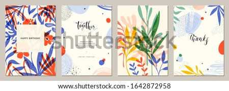Set of abstract creative universal artistic templates. Good for poster, card, invitation, flyer, cover, banner, placard, brochure and other graphic design. Vector illustration.