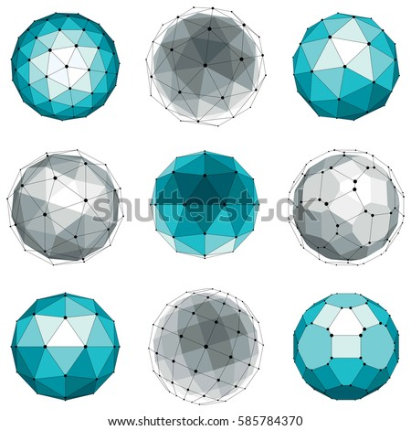 Set of abstract 3d faceted figures with connected lines. Vector low poly design elements collection, scientific concept. Cybernetic orb shapes with grid and lines mesh, network structure.