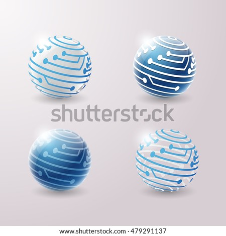Set of abstract 3d techno icons. Vector illustration.