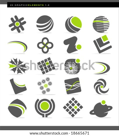 Set of 20 abstract design elements; easy-edit colors