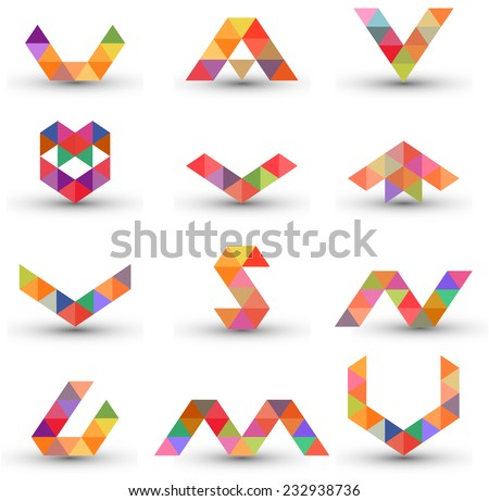 Set of abstract design elements, letters