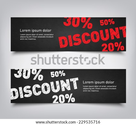 Set of abstract discount sales background banners with chalkboard style, clean and modern design. Vector eps 10