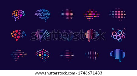 Set of abstract dots and lines brain logotypes concept. Logo for science innovation, machine learning, ai, medical research, new technology development, human brain health, it startup.