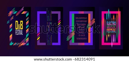 Set of abstract dynamic multicolored Electronic music festival background. Hard Summer Holiday Dance Event poster, invitation, brochure frame. Vector pop, hard rock, jazz music wave dynamic Fest Art