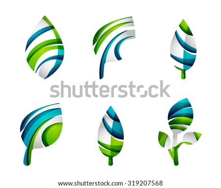 Royalty free set of abstract eco leaf icons 325654037 for Modern cleaning concept