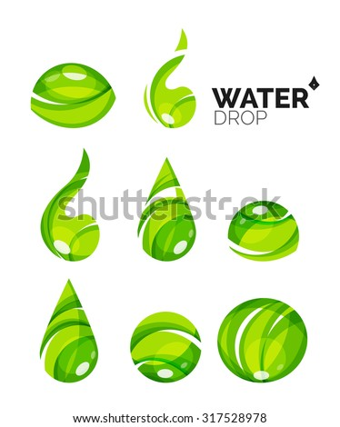 set of abstract eco water icons