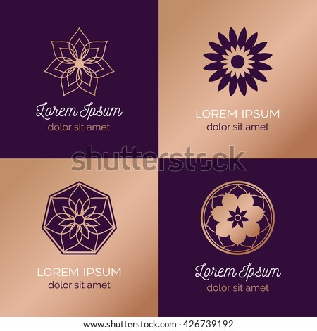 Set of abstract elegant flower vector sign template. Modern linear style logo - beauty, nature, luxury concepts design.