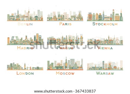 set of 9 abstract europe city