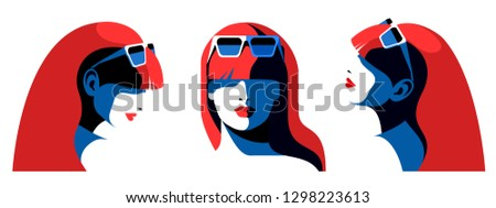 set of abstract female