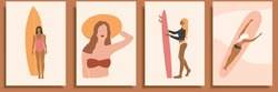 Set of abstract female shapes and silhouettes on retro summer background. Abstract women portraits in pastel colors. Collection of contemporary art posters.Girls surfers in swimsuits for social media