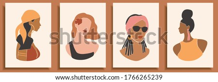 Set of abstract female shapes and silhouettes on retro summer background. Abstract women portraits in pastel colors. Collection of contemporary art posters. Fashion girls in swimsuits for social media