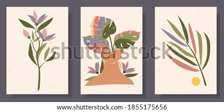 Set of abstract female shapes and silhouettes on textured background. Abstract women face, lips in pastel colors. Collection of contemporary art posters. Flowers and leaves compositions.