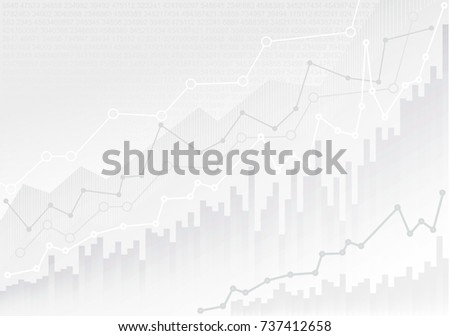 Set of abstract financial chart with trend line graph and numbers in stock market. Mockup template ready for your design. Vector illustration. Isolated on white background