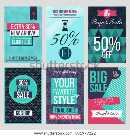 set of abstract flat sale cards