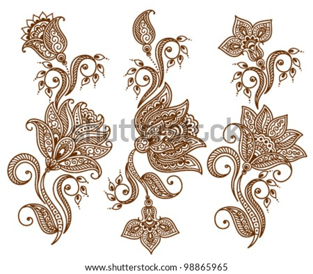 Set of abstract floral pattern or tattoo