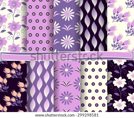 set of  abstract floral vector paper for scrapbook #299298581
