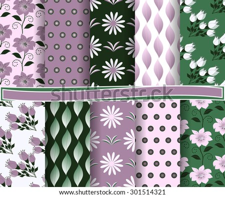set of  abstract floral vector paper for scrapbook #301514321